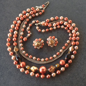 Vintage 50's Style 5 Strand Statement Necklace Set